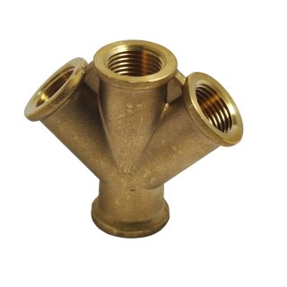 Drucklufverteiler Messing 2-fach 4x IG