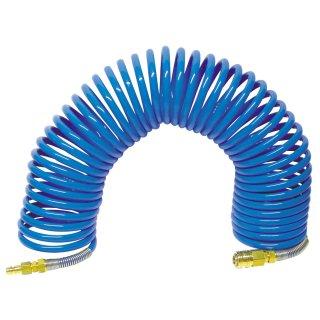 Spiral Druckluftschlauch 10x1, mit Kupplung und Stecknippel starr, AL