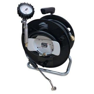 Reifenfüller mit LKW Reifenfüllanschluss, inkl. 20 m Gummischlauch auf der Schlauchtrommel