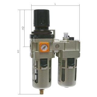 Druckluft Wartungseinheit 2tlg. Eco Line mit halbautomatischer Entwässerung
