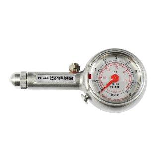 Flaig Reifendruck Messgerät mit Schräganschluß u. Ablassventil 0-4 bar
