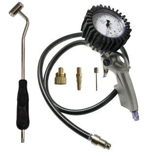 Reifenfüller geeicht, Druckprüfer, Tankstellenstecker, Ventilstecker, Set