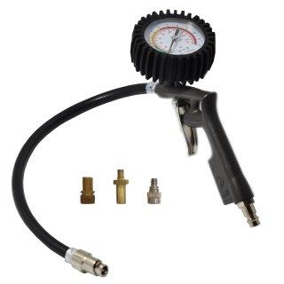 Reifenfüller mit Fahrradventil Adapter Set, 0-12 bar / psi neuer Patentanschluss