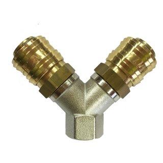 Druckluftverteiler 2-fach mit Innengewinde inkl. Kupplungen NW 7,2
