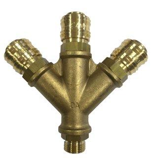 Druckluftverteiler 3-fach inkl. Kupplungen NW 7,2 mit Außengewinde